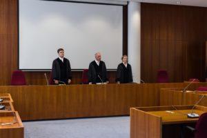 Gericht bei Auswertung der Videomaterialien. Foto: Martin Behrsing